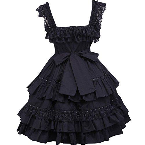 Bogen Schwarz Frauen Partiss Kleid Lolita aermel Klassische Schwarz E5q5S8n