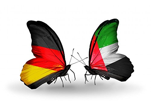 Wallmonkeys WM218845 Two Butterflies with Flags Germany and Uae Peel and Stick Wall Decals (24 in W x 16 in H)