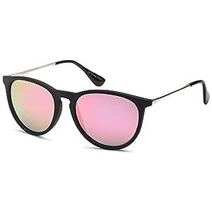 GAMMA RAY Polarized UV400 Vintage Retro Round Thin Style Sunglasses - Mirror Pink Lens on Matte Black Frame