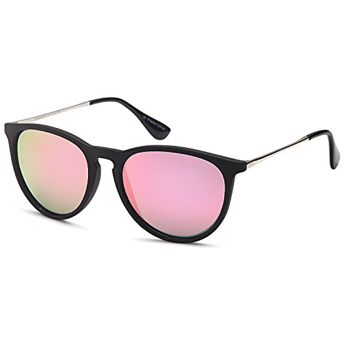 GAMMA RAY Polarized UV400 Vintage Retro Round Thin Style Sunglasses - Mirror Pink Lens on Matte Black - Sale Sunglasses