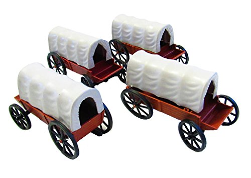 Western Wagon (4 Pieces Covered Western Wagons (4 inches))