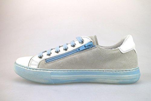 Braccialini Celeste Bianco Scarpe Sneakers Camoscio Donna Ah369 Pelle CxwHrqCZAU