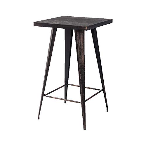 Romatlink Patio Bar Table for Indoor and Outdoor bar Table 23.6Inch Retro Style Square Desktop Metal Bar,Sturdy and Durable,Wear Resistant Anti Rust Finish Black Multiple Scenes