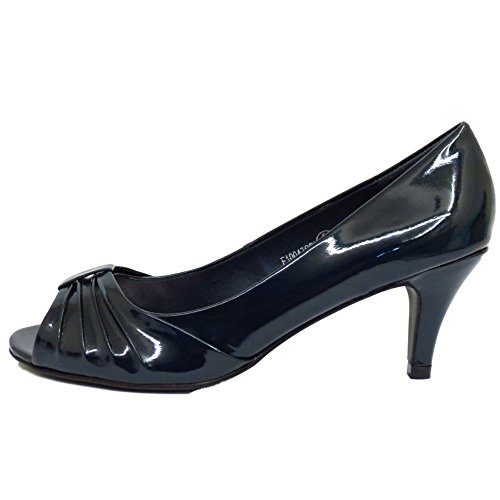 Peep Ladies Kitten Slip Patent Heel 3 HeelzSoHigh Shoes Work Navy 8 Low Court On Sizes Toe wSHU8t8Wq
