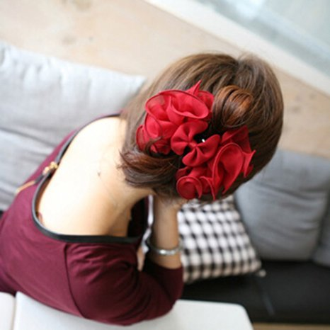 MacTop 1 Piece Women's Chiffon Rose Flower Bow Hair Clip (Red)