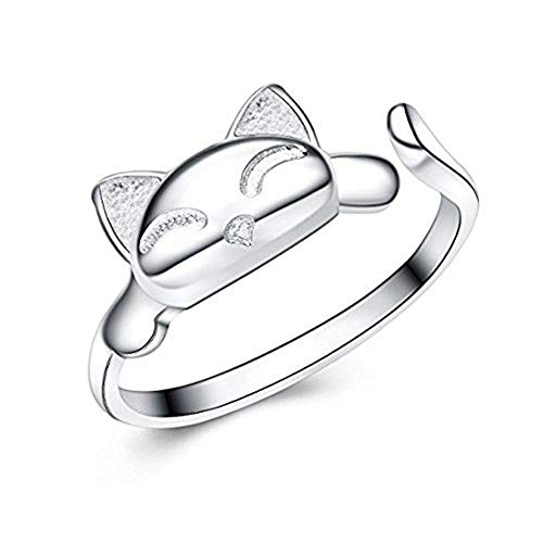 SE-Womens-925-Sterling-Silver-Rings-Simple-Cute-Cat-Design-Opening-Finger-Ring-Pink-Cat-NecklaceEarrings