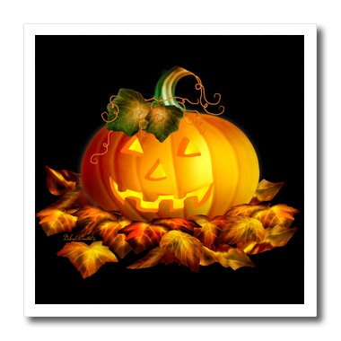 3dRose ht_11657_1 Glowing JackoLantern and Autumn leaves on Halloween night Iron on Heat Transfer, 8 by 8-Inch (Halloween Night Out Pics)