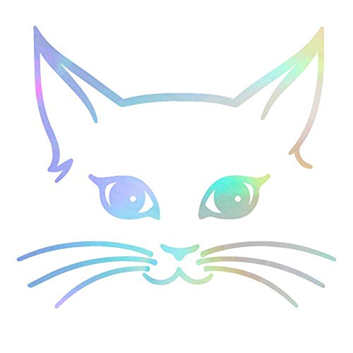 ANGDEST Girly CAT FACE (Hologram) (Set of 2) Premium Waterproof Vinyl Decal Stickers for Laptop Phone Accessory Helmet Car Window Bumper Mug Tuber Cup Door Wall Decoration