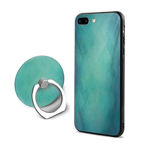 (Teal iPhone 7 Plus/iPhone 8 Plus Cases,Retro Inspired Grunge Style Abstract Pattern Vintage Design Calming Color Scheme Turquoise Blue,Design Mobile Phone Shell Ring Bracket)