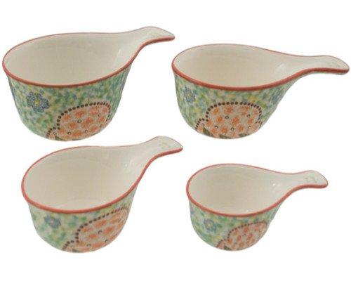 Kitchen Essentials Hand Painted Bright Floral Ceramic Measuring Cups Dishwasher Safe (Spring Mix) ()