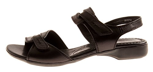 Caprice Sandalette Leder Schuhe Lederschuhe Damenschuhe 9-28107 Schwarz