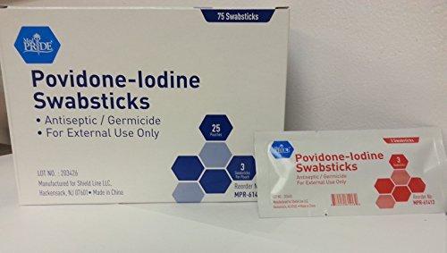 Povidone - Iodine Swabsticks - 75 Swab Sticks per box - 3 per pouch - First Aid