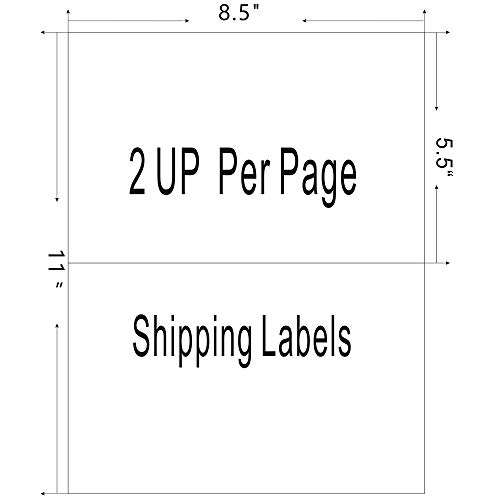 Firstzi Half Sheet Self Adhesive Shipping Labels 200 Count, 2 Labels Per Page, 5-1/2