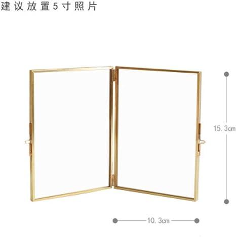 Marco de fotos de metal nórdico creativo doblado DIY lujo dorado cuadro de certificado marco boda dormitorio decoración de escritorio manualidades, 1-5 pulgadas: Amazon.es: Bebé