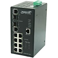 TRANSITION networks 8-port 10/100btx 2-port dual poe industrial rated switch SISPM1040-182D-LRT