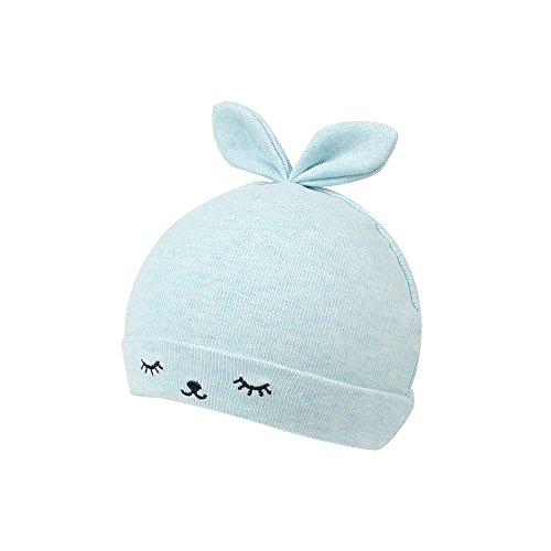 KASULAR Newborn Hat Baby Boys Girls Beanies 0-3Months Squinting Rabbit Ears Pink/Blue/Gray/Beige (0-3Months, Blue) Boy Rabbit