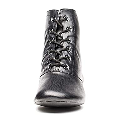 Women's Black Leather Split Sole Jazz Dance Boots Shoes(Adult/Unisex for Big Kid) | Boots
