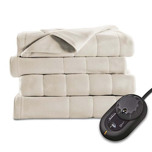 Best Price Sunbeam Quilted Fleece Heated Blanket, Twin, Seashell