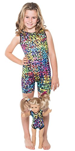 Delicate Illusions Girls Tank Unitard Sleeveless Biketard For Gymnastics Matching 18 Inch Doll Leotard L (8-9 yrs) - Jersey Sleeveless Lined