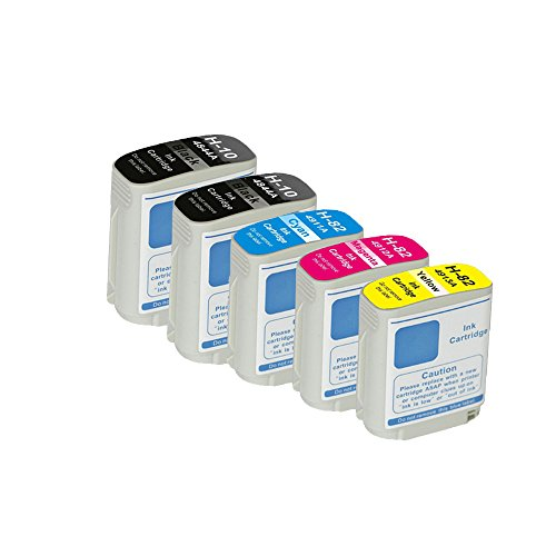 Compatible for HP 10 82 C4844A C4911A C4912A C4913A (5-Pack 2Black Cyan Magenta Yellow) Ink Cartridge for HP Designjet 100plus 500ps 500Plus 800ps 815 815mfp 820