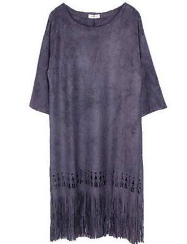 PU&PU Robe Aux femmes Ample Street Chic,Couleur Pleine Col Arrondi Au dessus du genou Polyester , purple-one-size , purple-one-size