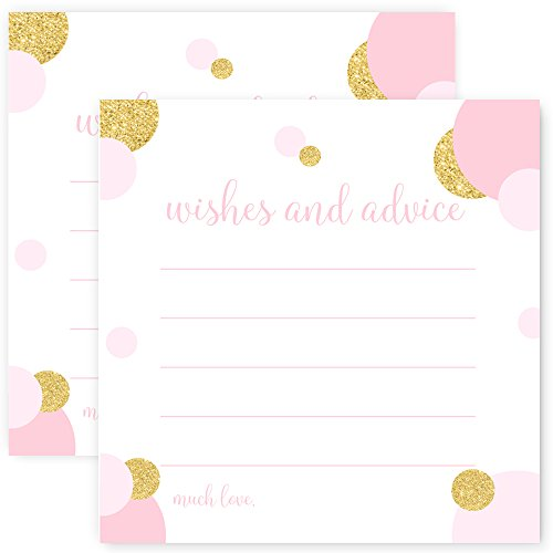 Advice and Wishes Baby Shower Game Card Set of 25 Blush and Gold Dot