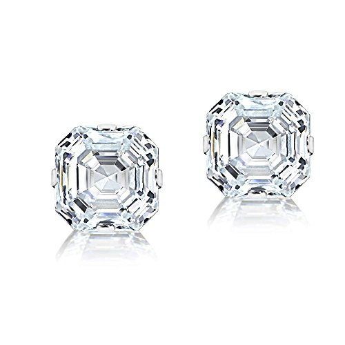 14k Precious Earrings (Bria Lou 14k White Gold Asscher Cut Cubic Zirconia Solitaire Stud Earrings, 6mm (2cttw))