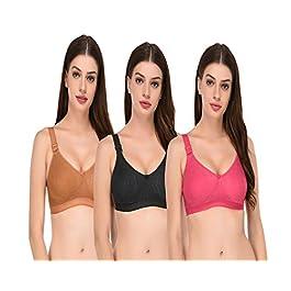 Elina Women's Cotton & Hosiery Non-Padded Non-Wired Regular Bra (Pack of 3)