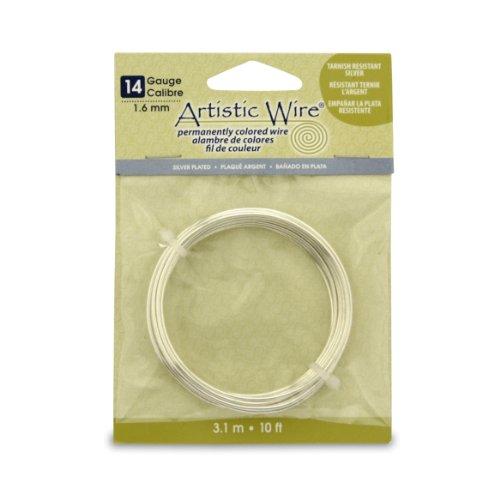 Artistic Wire 14S Gauge Wire, Tarn Resist Silver, 10-Feet
