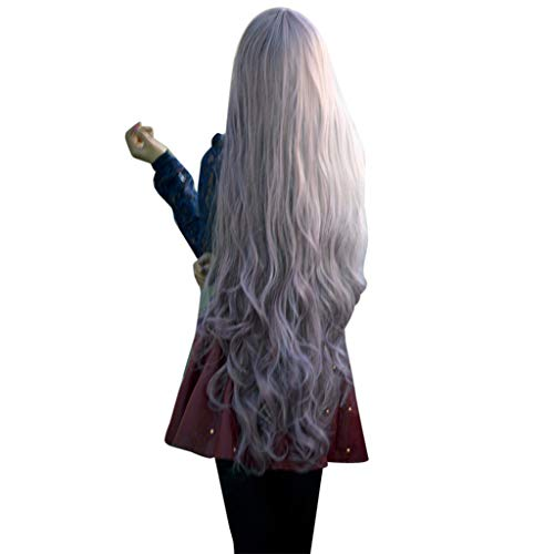 Women Long Wavy Curly Wig Fudule Synthetic Fiber Hair Heat Resistant Human Hair for Women Gradient Full Hair Wig Cosplay -