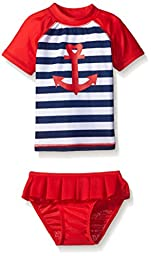 Sol Swim Baby Sailor Love Rashguard Set, Red, 12 Months