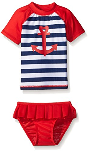 Sol Swim Little Girls' Toddler Sailor Love Rashguard Set, Sailor Love, 2T