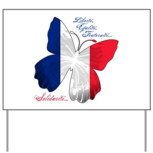 (Yard Sign French Flag Butterfly Solidarite)