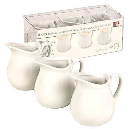 3piezas de jarra de leche de porcelana para crema, salsa, sauce, ensalada y