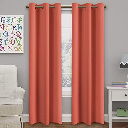 Turquoize Solid Blackout Drapes, Room Darkening, Coral, Themal Insulated, Grommet/Eyelet Top, Nursery/Living Room Curtains Each Panel 42