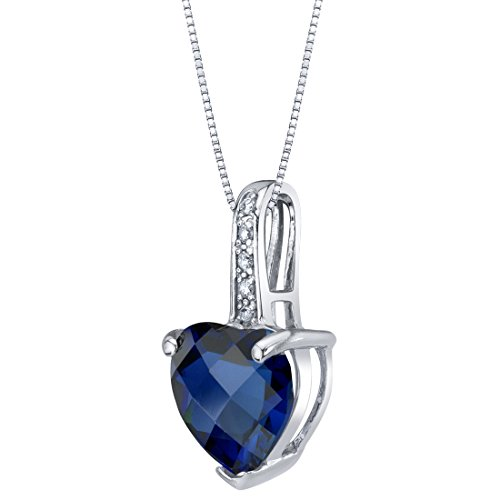 14K White Gold Created Blue Sapphire and Diamond Heart Pendant 2.50 Carats ()