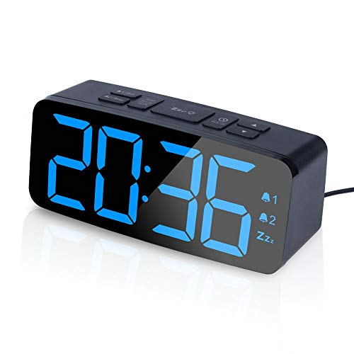 PINGKO Digital Alarm Clock with FM Radio Large Smart LED Display, Dual-Alarm, Snooze Function,Adjustable Brightness, 12hr 24 hr format -Small and Light for Travel,Desk or Bedroom, Powered by USB port