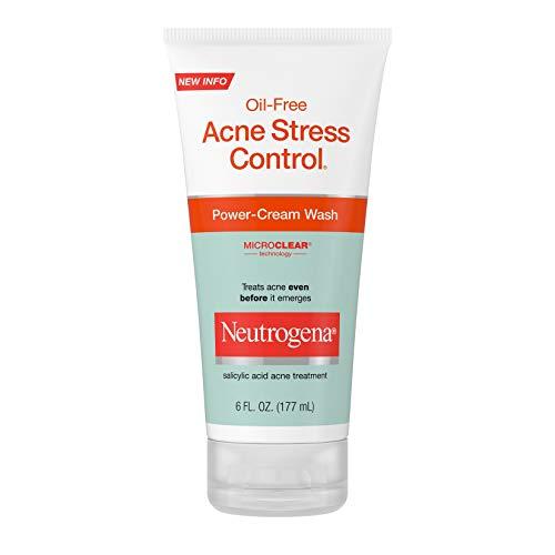 Neutrogena Oil-Free Acne Stress Control Power-Cream Face Wash, Salicylic Acid Acne Treatment for Acne-Prone Skin, 6 fl. oz (Pack of 3)