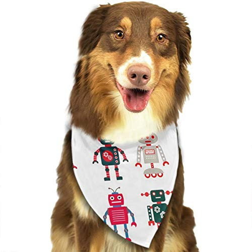 Dog Bandana Colorful Cartoon Set Robot Image Future Sense Interesting Mascot Pet Scarf Pet Dog Bandanas Washable Triangle Dog Scarf,Pet Accessories