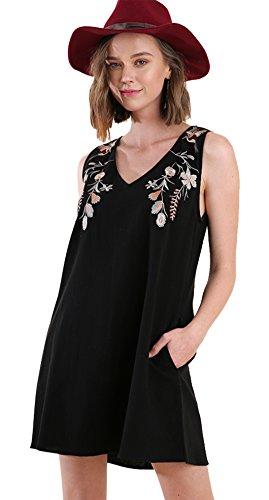 Umgee Boho Brunch! Embroidered V-Neck Sheath (Large, Black Floral)