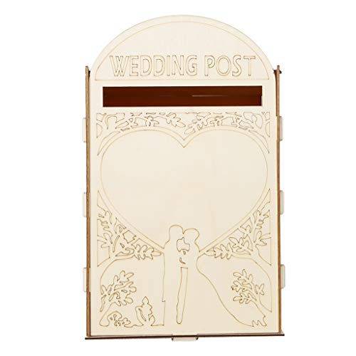 (Hardli Wooden Wedding Post Box Royal Mail Styled Cards, Letter Gift Message Storage with Lock Bride Groom Heart Decor)