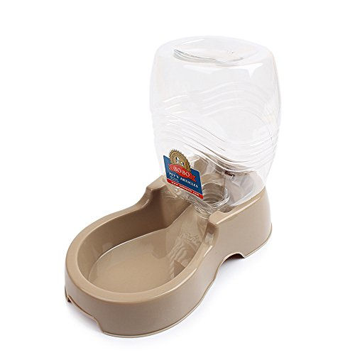 Geekercity Portable Pet Water Dispenser Environmental Protection Non-toxic Plastic Outdoor or Indoor Pet Drinking Fountain Dogs Cat Water Drinking Feeder Bowl of 945 ML (Brown)
