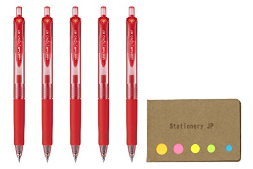 Uni-ball Signo RT Retractable Gel Ink Pen, Rubber Grip, Micro Point 0.38mm, Red Ink, 5-Pack, Sticky notes Value Set