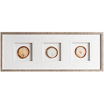 Madison Park, Trio Natural Agate Wall Art, Glass Framed Panel Natural Agate 4 Inch Geode Stones Living Room Décor, Natural Multi, 34