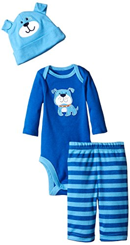 Gerber Baby-Boys Newborn 3 Piece Bodysuit Cap and Pant Set, Blue Dog, 6-9 Months - Blue Piece Cloth