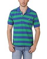 American Crew Men's Polo Stripes T-Shirt (Green & Blue)