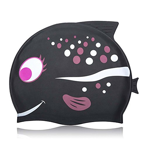 Kids Swimming Cap NGWALL Sartoon Fish Pattern Design (Silicone) Boy Swimming Cap Girl Swimming Cap Swim Cap for Children (Black)