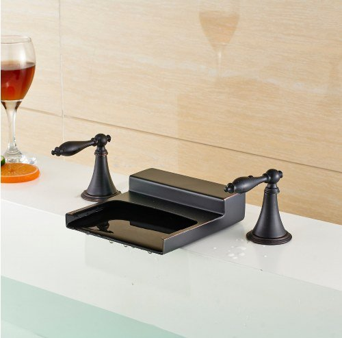 Gowe Bathroom Widespread Double Handles Bathroom Sink Faucet Waterfall Spout Tub Mixer Tap Oil Rubbed Bronze 3