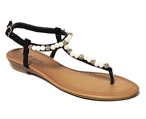 Mannika Oukpxtzi Noir Flops Sandales Ecoleather Ch3013 Femmes Chaussures IYEWH29D