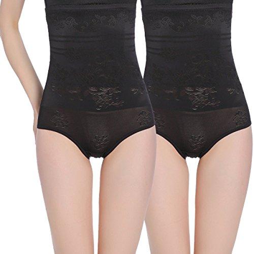 Mujer Delgada Triángulo Abdomen Cintura Alta Esculpir El Cuerpo Levante Las Caderas Posparto Cómodo Bragas 2 Pack Black+Black